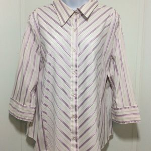 Tops - Womens Button Up Satin Look Top 3/4 Sleeves